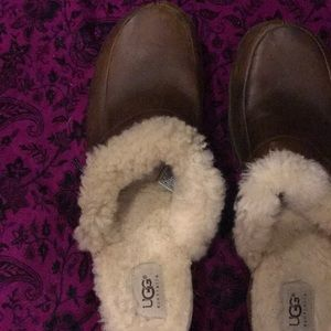 ugg leather and fur clogs